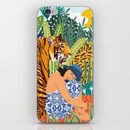 Awaken The Tiger Within Illustration, Wildlife Nature Wall Decor, Jungle Human Nature Connection iPhone Skin