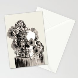 Life on a pedestal, floral skull Stationery Cards