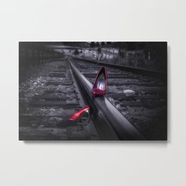 leaving Tracks red high heel shoes on the railroad tracks Metal Print