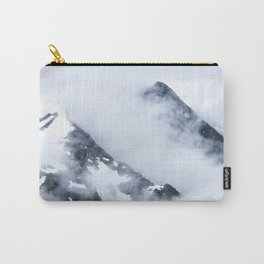 Minimalist MIsty Foggy Mountain Twin Peak Snow Capped Cold Winter Landscape Carry-All Pouch