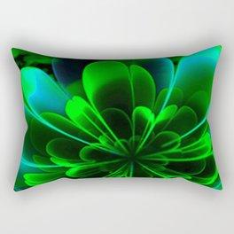Abstract Green Flower Rectangular Pillow