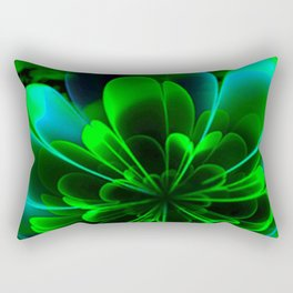Abstract Green Flower Rectangular Pillow