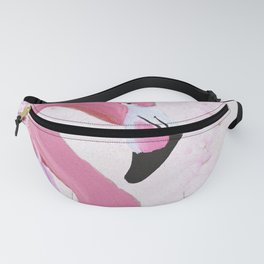 PINK FLAMINGO AND ORCHID OIL PAINTING Fanny Pack
