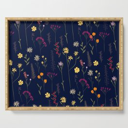 Hand drawn cute dried pressed flowers illustration navy blue Serving Tray
