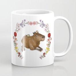 Capybara in Flower Wreath Coffee Mug