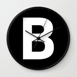 Letter B (White & Black) Wall Clock