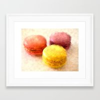 macarons Framed Art Prints featuring MACARONS!!! by Elizabeth Cakovan