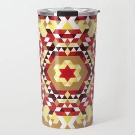 Red Radial Triangles Pattern Travel Mug