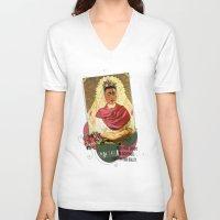 frida kahlo V-neck T-shirts featuring Frida Kahlo by Selman HOŞGÖR