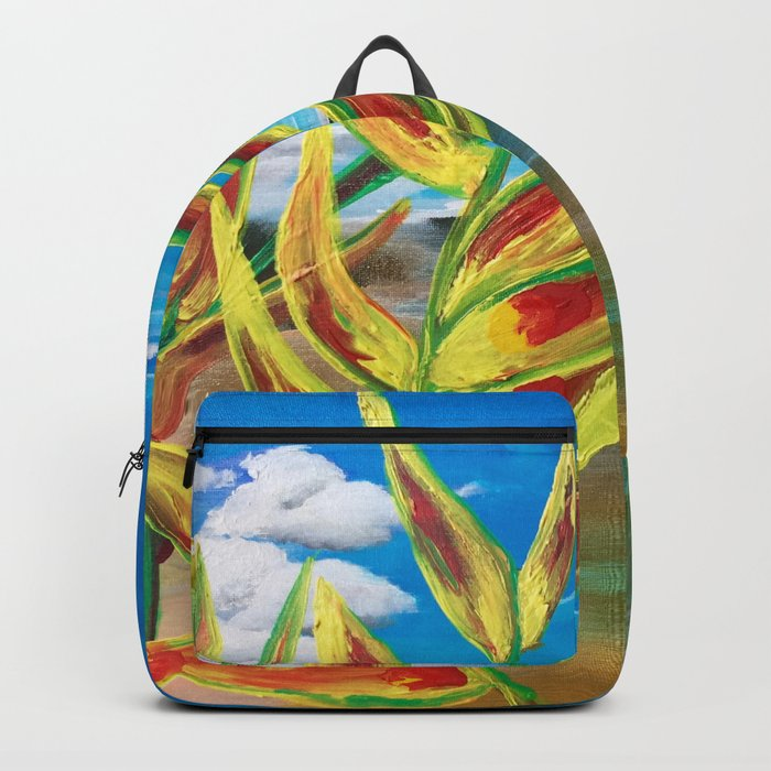Heliconia Tropical Parrot Plant Take Me There Backpack