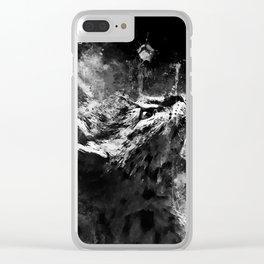 serval cat splatter watercolor black white Clear iPhone Case