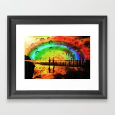 Romantic Sunset Reflections and Rainbow Framed Art Print