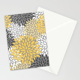 Modern Elegant Chic Floral Pattern, Soft Yellow, Gray, White Stationery Cards