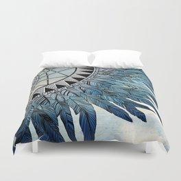 blue feather dreamcatcher Duvet Cover