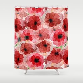 Red Flowers Shower Curtains