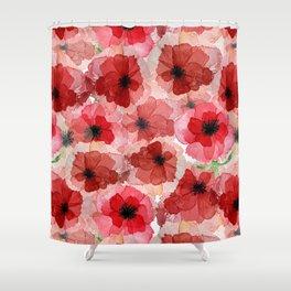 Pressed Poppy Blossom Pattern Shower Curtain