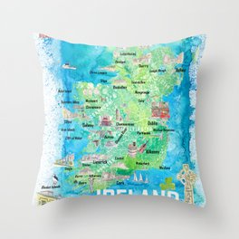 Ireland Illustrated Travel Map with Roads and Highlights Throw Pillow