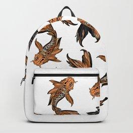 9 Koi Fish - 8 brightly colored koi and 1 black koi fish Backpack