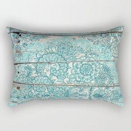 Teal & Aqua Botanical Doodle on Weathered Wood Rectangular Pillow