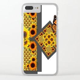 GOLD SUNFLOWERS & MONARCH BUTTERFLIES ART DECO Clear iPhone Case