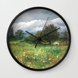 Landscape of nature with a white horse Wall Clock