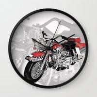 motorbike Wall Clocks featuring MotorBike by tuncay cavdar