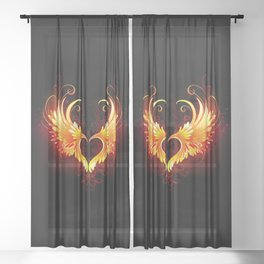 Angel Fire Heart with Wings Sheer Curtain