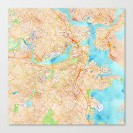 Boston watercolor map XL version Canvas Print