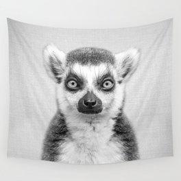 Lemur 2 - Black & White Wall Tapestry