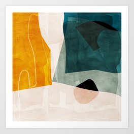 mid century shapes abstract painting 3 Art Print