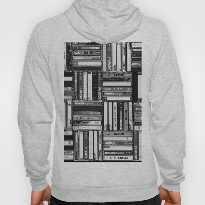 Music Cassette Stacks - Black and White - Something Nostalgic IV #decor #society6 #buyart Hoody