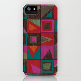 squares of colors and shreds iPhone Case