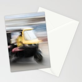 Yellow scooter drives on the street in Orissa India   Travel Photography Stationery Cards
