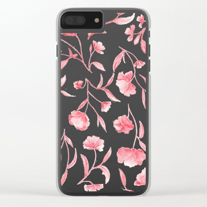 Red Watercolor Floral Pattern Clear iPhone Case