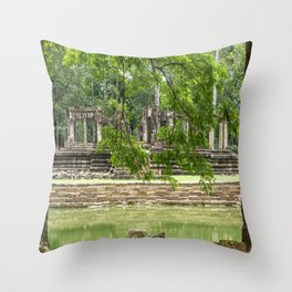Pool & Structure of Baphuon Temple I, Angkor Thom, Siem Reap, Cambodia Throw Pillow