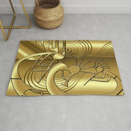 Magical Kokopelli in Gold Rug