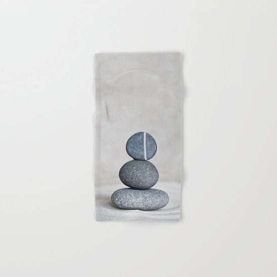 Zen cairn pebble stone balance grey Hand & Bath Towel