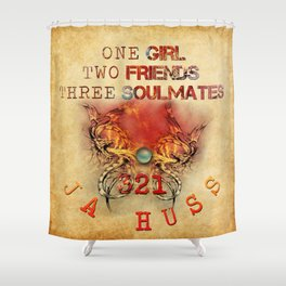 321 - One Girl, Two Friends, Three Soulmates with dragons (square) Shower Curtain
