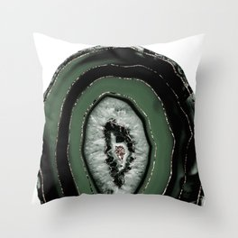 Green Black Agate with Rose Gold Glitter #1 #gem #decor #art #society6 Throw Pillow
