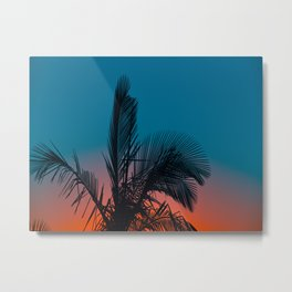 Complementary Colors Orange & Blue Ombre Sunset Minimalist Palm Tree Sunset Silhouette Metal Print