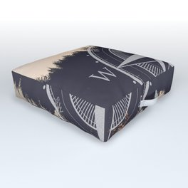 Wooded Lake Reflection Compass Outdoor Floor Cushion