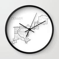 denver Wall Clocks featuring Denver by linnydrez