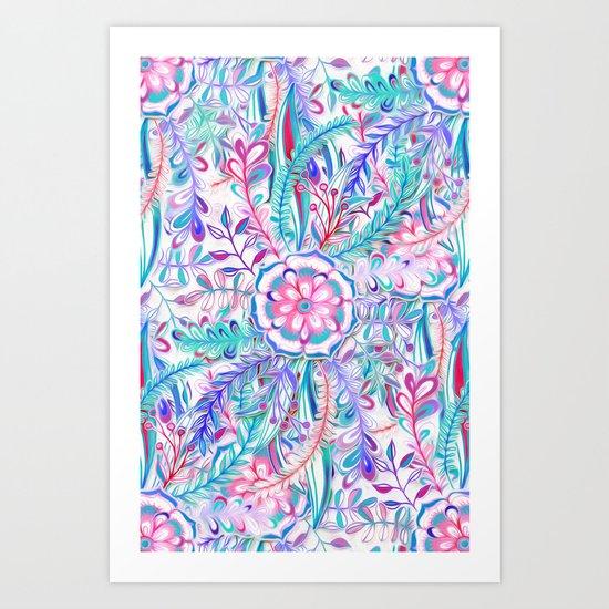 Boho Flower Burst in Pink and Teal Art Print