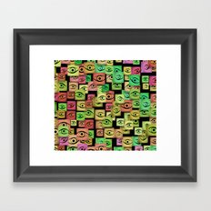 Red and green abstract eyes Framed Art Print