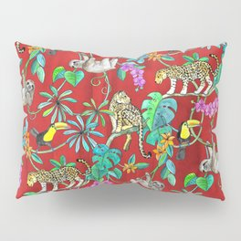 Rainforest Friends - watercolor animals on textured red Pillow Sham
