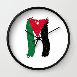 Jordanian Flag Stylized Wall Clock