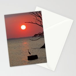 Sunset with Heron Stationery Cards