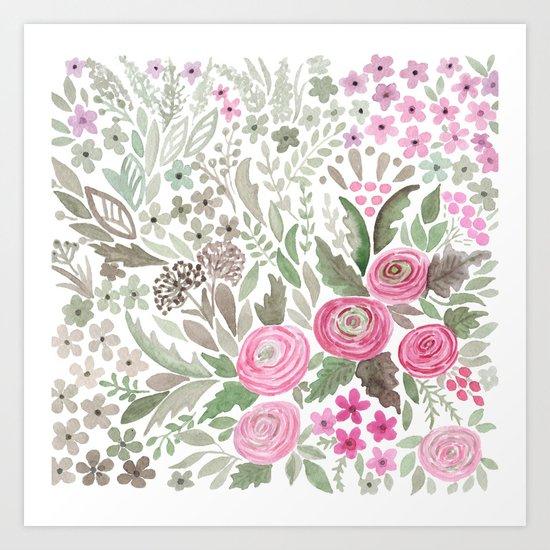 Watercolor .  Pink summer . Art Print