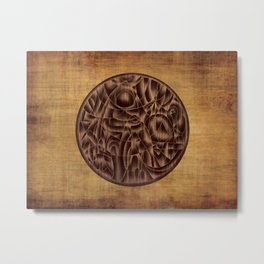 Abstract Wood Carving Pattern Metal Print