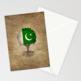 Vintage Tree of Life with Flag of Pakistan Stationery Cards